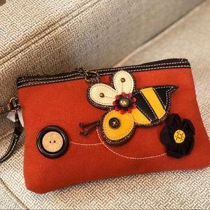 Chala Bee Wristlet Canvas Keychain Rust Orange